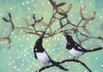 Pohlednice Barbora Valecká - Ptáčci s jmelím